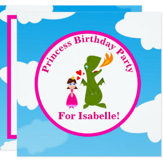 Princess and Dragon Fairy Tale Birthday Party Card