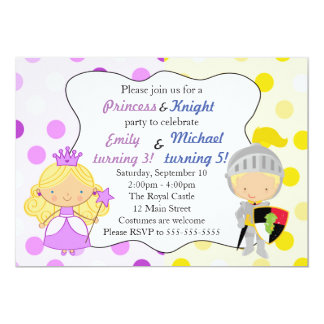 Princess and Knight Invitation Kids Birthday Party