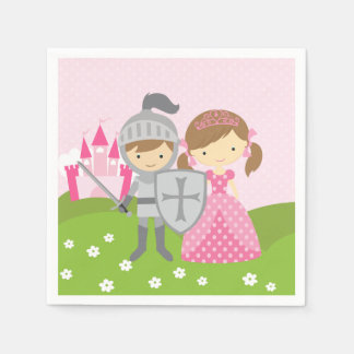 Princess and Knight party napkins Paper Napkins