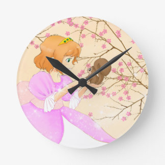 Princess and squirrel with blossom gift for kids round wallclock