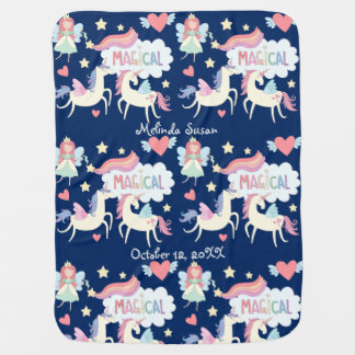 Princess and Unicorn Pattern Personalized Baby Blanket