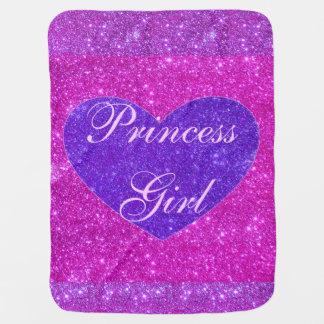 Princess Baby Girl Blanket Pink Sparkly Blanky Stroller Blanket