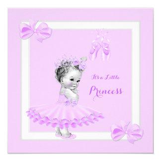 "Princess Baby Shower Cute Girl Lilac Tutu 5.25"" Square Invitation Card"