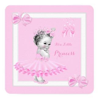 "Princess Baby Shower Cute Girl Pink Tutu 5.25"" Square Invitation Card"