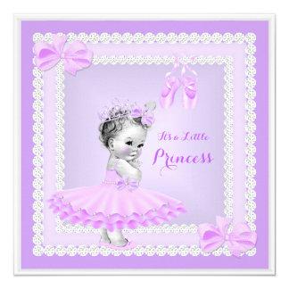 "Princess Baby Shower Cute Girl Purple Ballerina 5.25"" Square Invitation Card"