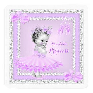 "Princess Baby Shower Girl Cute Lilac Ballerina 5.25"" Square Invitation Card"