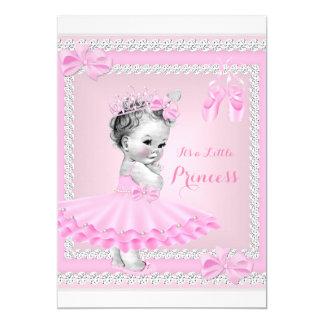 "Princess Baby Shower Girl Cute Pink Ballerina 5"" X 7"" Invitation Card"