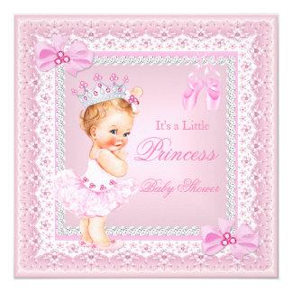 "Princess Baby Shower Girl Pink Ballerina Blonde 5.25"" Square Invitation Card"