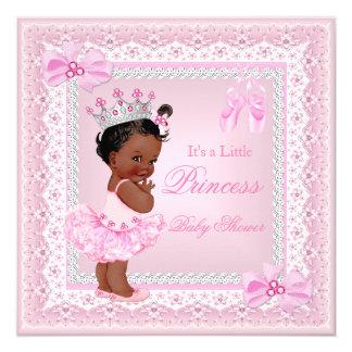 "Princess Baby Shower Girl Pink Ballerina Ethnic 5.25"" Square Invitation Card"