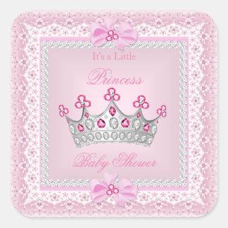 Princess Baby Shower Girl Pink Gem Silver Tiara Square Sticker