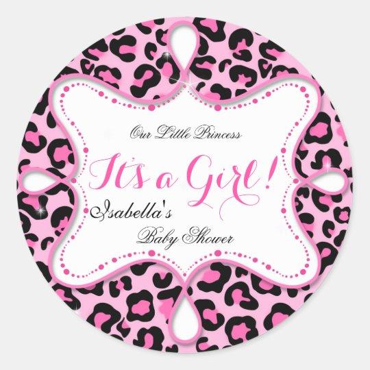 Princess Baby Shower Girl Pink Leopard Classic Round Sticker