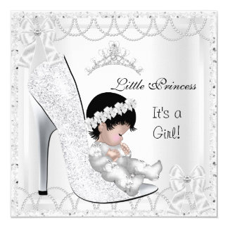 "Princess Baby Shower Girl Silver White Shoe 5.25"" Square Invitation Card"