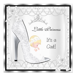 Princess Baby Shower Girl Silver White Shoe Personalized Announcement