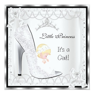 Princess Baby Shower Girl Silver White Shoe 5.25x5.25 Square Paper Invitation Card