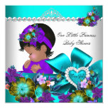 "Princess Baby Shower Girl Teal Blue Purple 3 5.25"" Square Invitation Card"