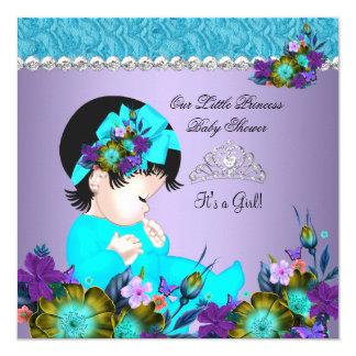 "Princess Baby Shower Girl Teal Blue Purple 3 5.25"" Square Invitation Card"
