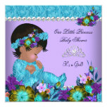 "Princess Baby Shower Girl Teal Blue Purple 5.25"" Square Invitation Card"