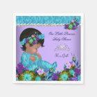 Princess Baby Shower Girl Teal Blue Purple Paper Napkin