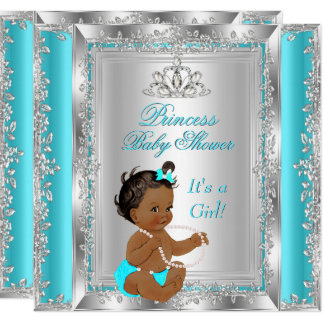 Princess Baby Shower Party Teal Silver Ethnic Card