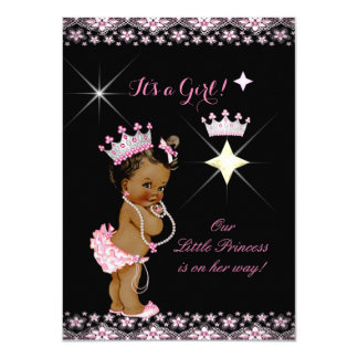Princess Baby Shower Pink Black Tiara Ethnic Card