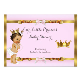 Princess Baby Shower Pink Gold Girl Brunette Card