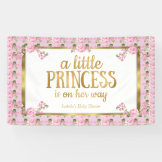 Princess Baby Shower Pink Gold Rose Floral Banner