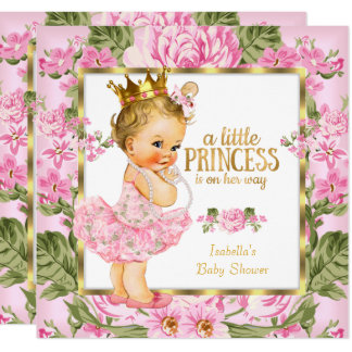 Princess Baby Shower Pink Gold Rose Floral Blonde Card