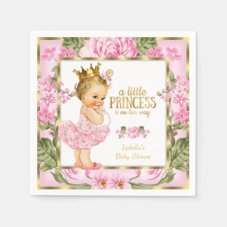 Princess Baby Shower Pink Gold Rose Floral Blonde Disposable Napkin