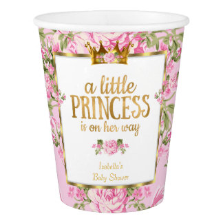 Princess Baby Shower Pink Gold Rose Floral Flowers Paper Cup