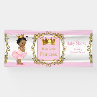 Princess Baby Shower Pink Gold White Ethnic Banner