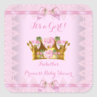 Princess Baby Shower Pink Rose Lace Bow Square Sticker