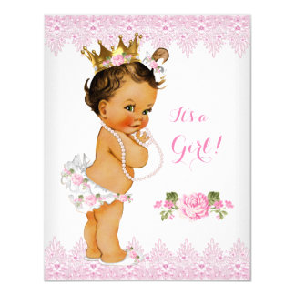 Princess Baby Shower Pink Rose Lace White Brunette Card