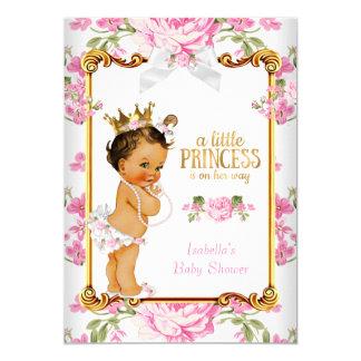 Princess Baby Shower Pink White Floral Brunette 2 Card