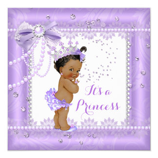 Princess Baby Shower Purple bow Lace Gem Ethnic Card