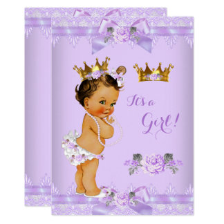 Princess Baby Shower Purple Rose Lace Brunette Card