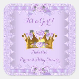 Princess Baby Shower Purple Rose Lavender Lace Square Sticker