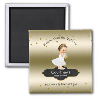 Princess Baby Shower Save the Date Elegant Gold Magnet