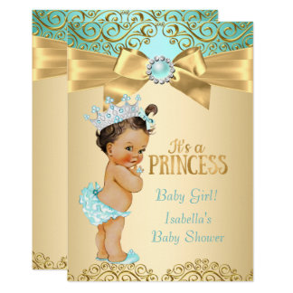 Princess Baby Shower Teal Gold Damask Card