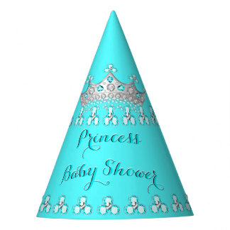 Princess Baby Shower Teal Silver Tiara Party Party Hat