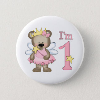 Princess Bear 1st Birthday 2 Inch Round Button