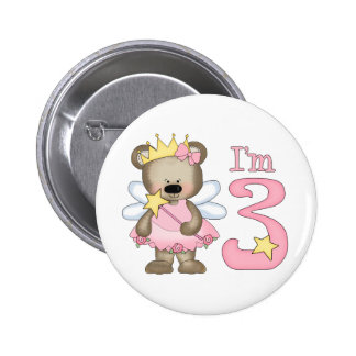 Princess Bear 3rd Birthday 2 Inch Round Button