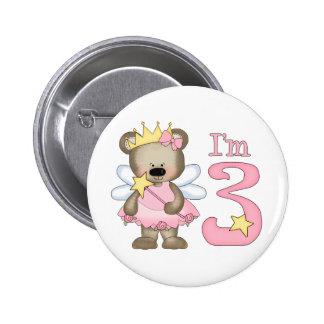Princess Bear 3rd Birthday Pinback Buttons