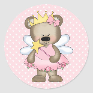 Princess Bear Round Sticker