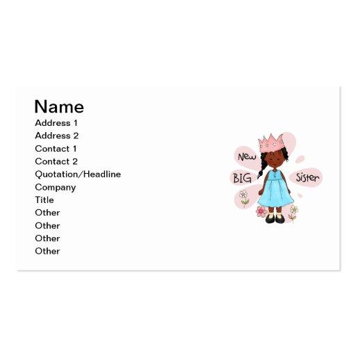 Princess Big Sister African American Business Card Template