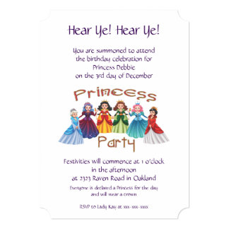 Princess Birthday Party Card
