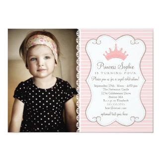 "Princess Birthday Pink Crown Photo Invitation 5"" X 7"" Invitation Card"