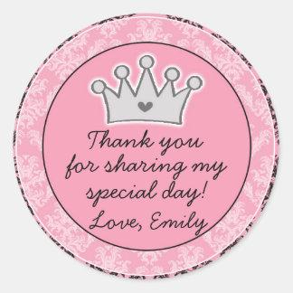 Princess Black Pink Gift Favour Label
