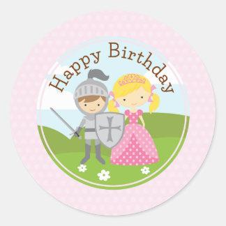 Princess blond and Knight 2inch circle sticker