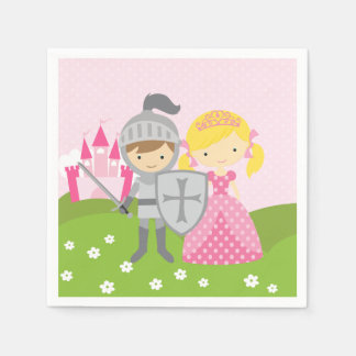 Princess blond and Knight party napkins Disposable Napkin
