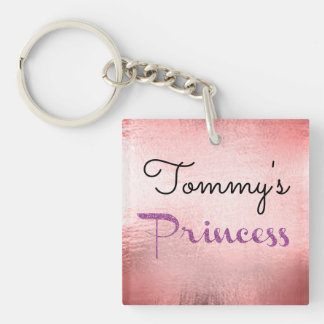 Princess Boyfriend Girlfriend Date Pink Foil Key Double-Sided Square Acrylic Keychain